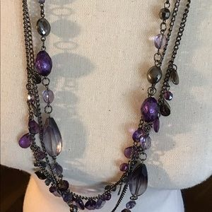 NYC Purple Beaded Necklace on Black Chain 🌹